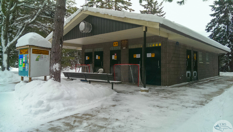comfort station at algonquin's mew lake campground