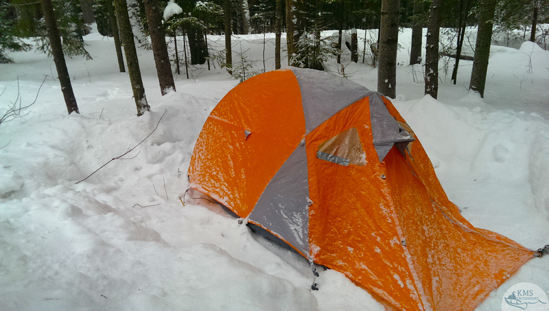 winter campsite in mew lake campground, algonquin