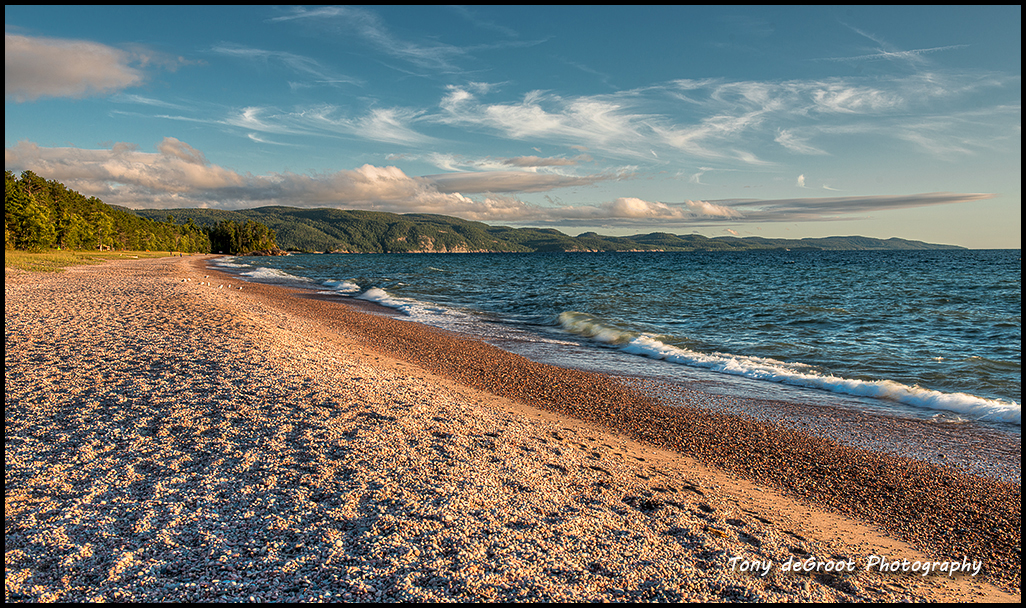 Agawa Beach - a large pebbled beach with beautiful view