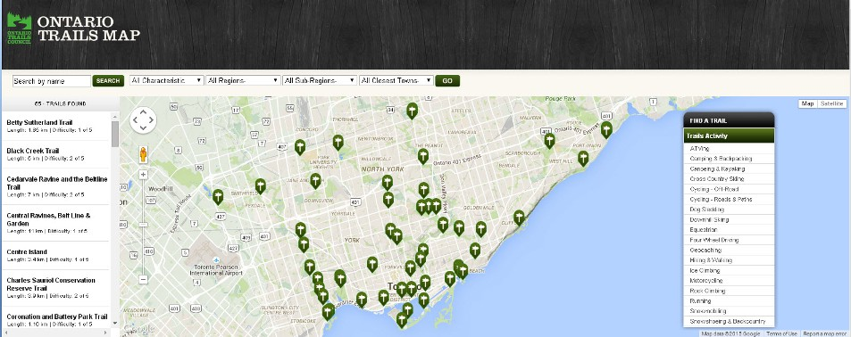 Ontario Trails interactive map