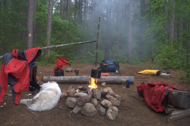 Bushcraft pot hanger at our last campsite