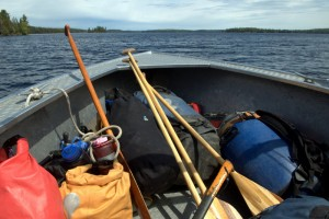 Gear loaded in the water taxi_Lake Opeongo_Algonquin