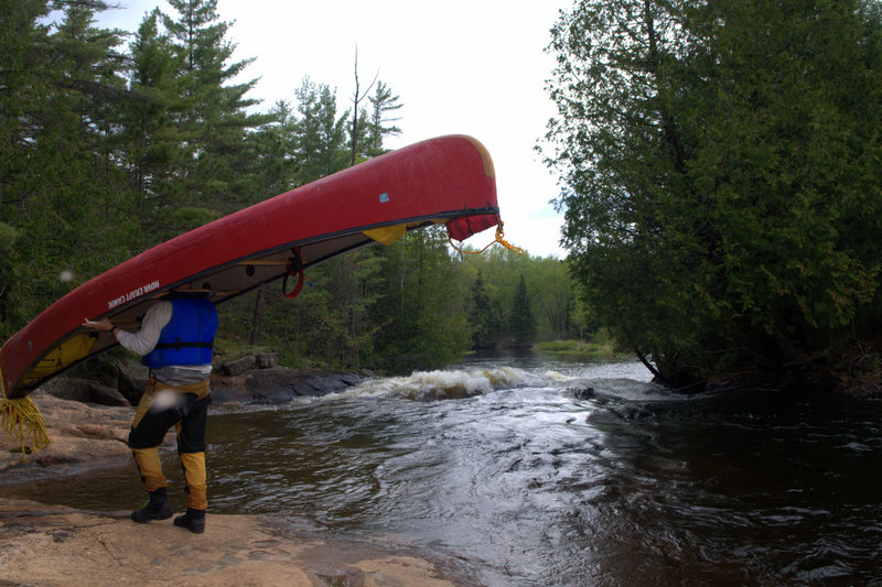 Portaging around Blueberry Falls, Algonquin