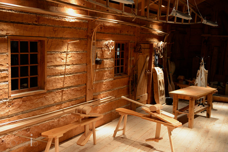 paddle collection in Canoe workshop at Peterborough Canoe Museum