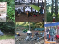 A collage of backcountry campsites Algonquin