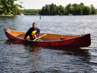 Jay in our new canoe. Jay designs the Alchemist canoes and he is the owner of the Paddleshack store in Bala (Muskoka)