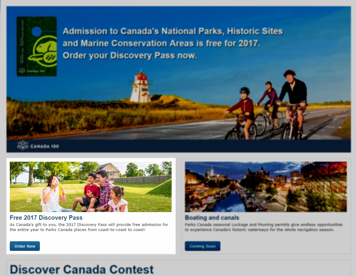 Parks Canada Free Discovery Pass 2017