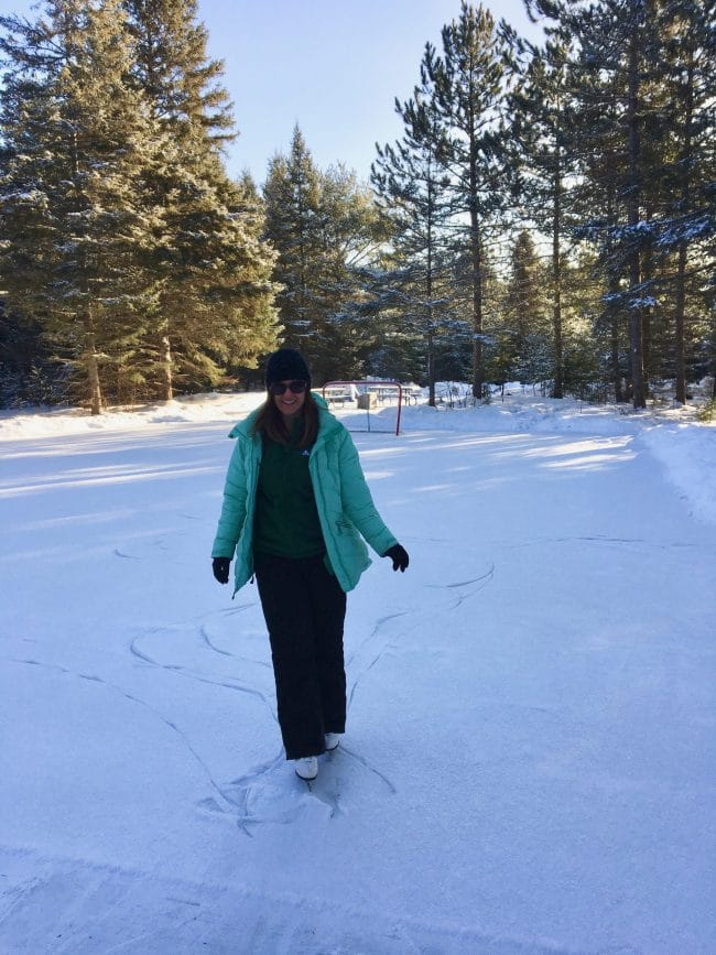 Skating at Mew Lake, Algonquin